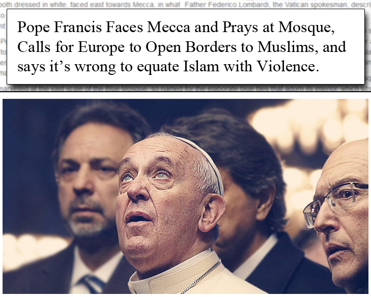 Pope, Francis, Istanbul, False Prophet, Mecca, Mosque, One, World, religion, The Wild Voice