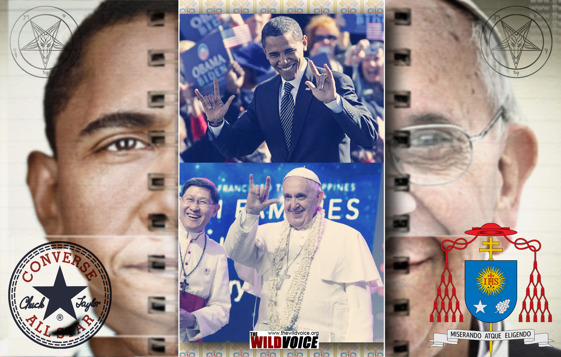 False Prophet, Jorge Mario Bergoglio, Pope, Francis, horns, devil, Satan, Helen Keller, Barack Obama, President, The Wild Voice, satanism, Church, Catholic