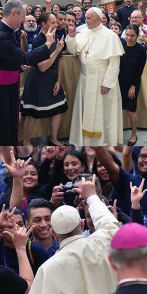 pope francis devil horns hand sign