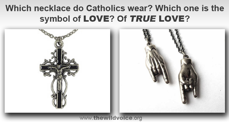cross, crucifix, Catholic, pope, false, prophet, Francis, Bergoglio, satan, satanic, horns, devil, necklace, hand, sign
