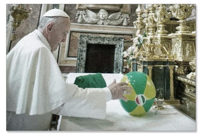 Francis puts soccer ball an Altar