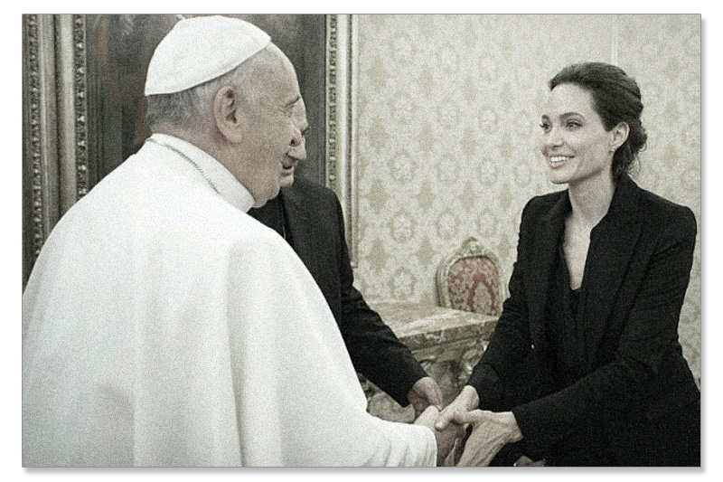 Pope Francis with Angelina Jolie