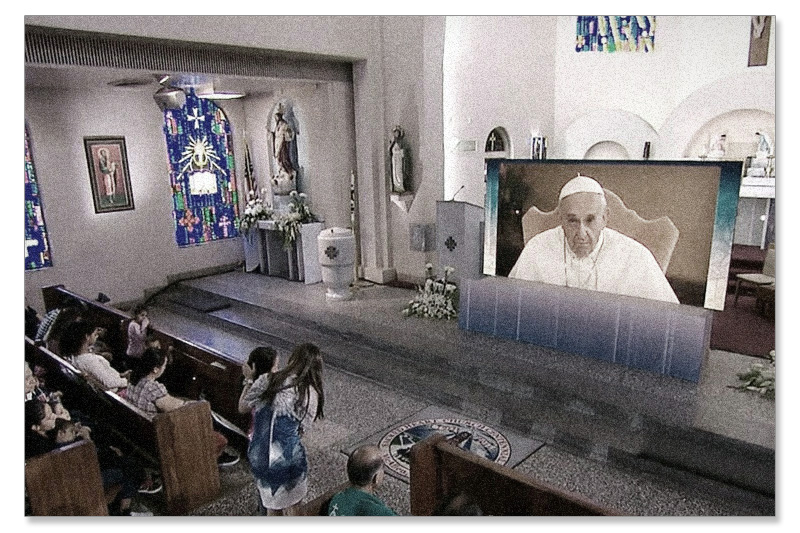 pope francis tv screen on altar