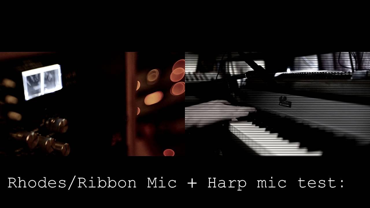 Rhodes ribbon + harp mic test