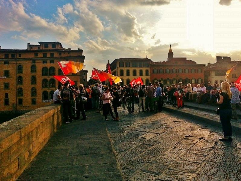 Scene on Ponte Santa Trinita in Florence, Italy | Girl in Florence blog