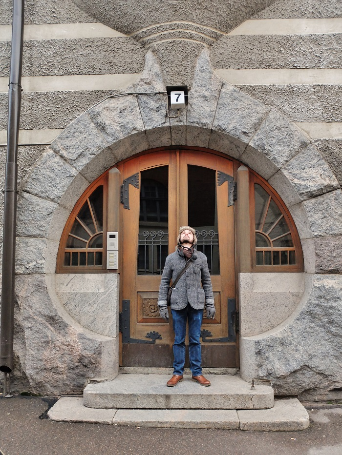 Nico posing in the doorway of a rather cool doorway in Helsinki, one of many