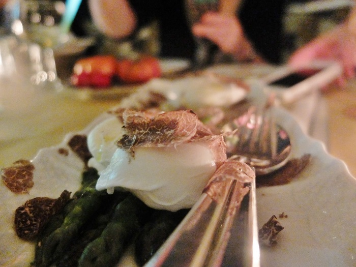Poached eggs with shaved truffles