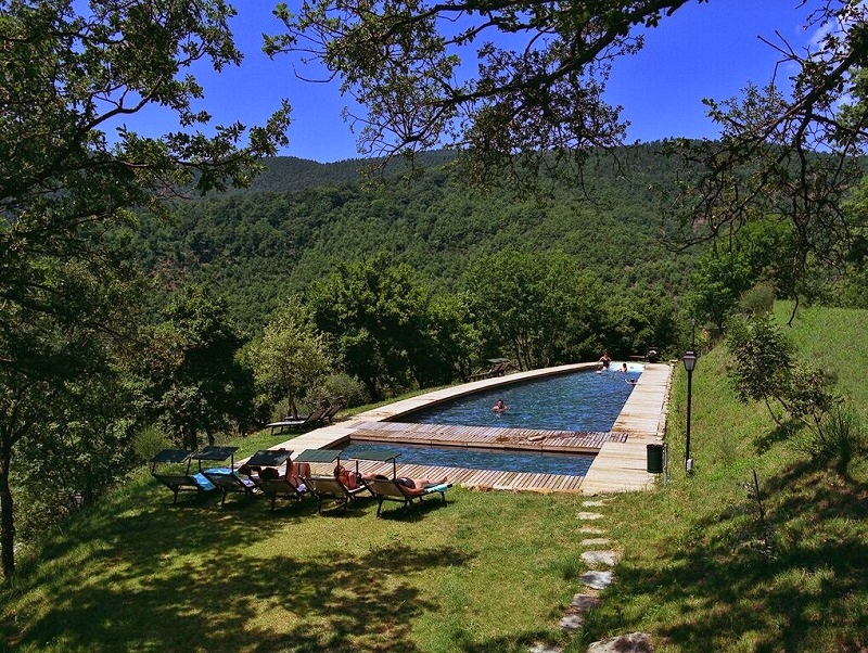 The pool carved into the countryside like it belongs there