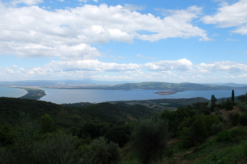 High up on Monte Argentario we caught a view of Orbetello and one of the 'tomboli' thin stretches of land connecting the island to the mainland