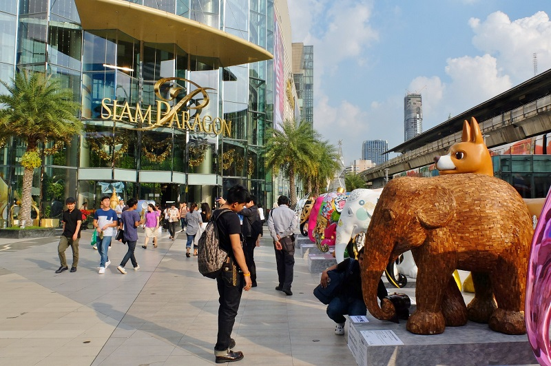 In front of the Siam Paragon shopping mall