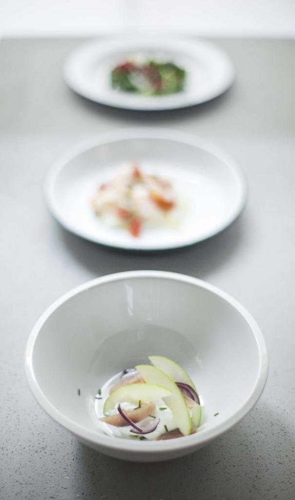 herring with green apple, onion and yogurt. Photo credit: Ditta Artigianale