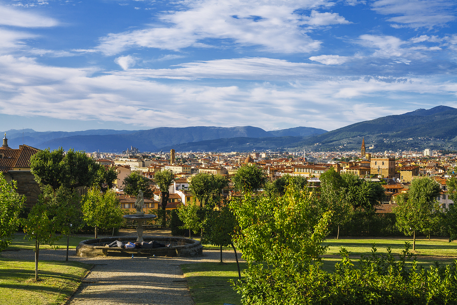 Overview of the city of Florence in the garden of Boboli stand the cathedral Santa Maria del Fiore the dome of Brunelleschi the Giotto tower and Palazzo Vecchio. September 2015