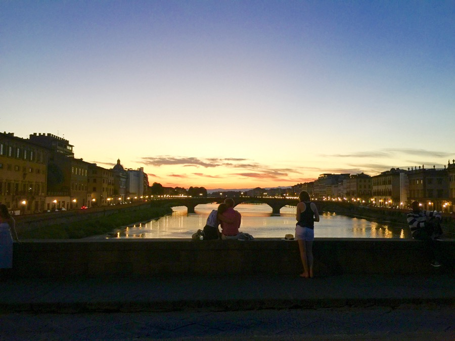 "Ponte Santa Trinita is the city's ""sunset bridge"" with dozens of people lining the sidewalks to capture nature's glory. Or just to make out."