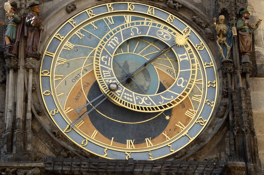 Prague's famous Astronomical Clock on the old town hall
