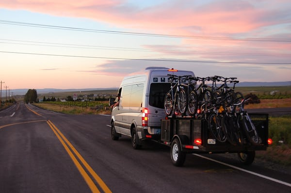 Into the sunset with bikes in tow