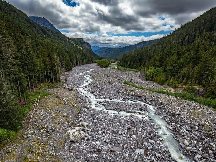 Nisqually River flowing from Mt. Rainier glaciers