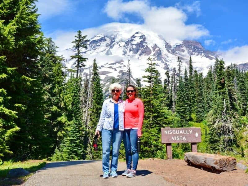 Two women hiking near Mt. Rainier on tour from Seattle