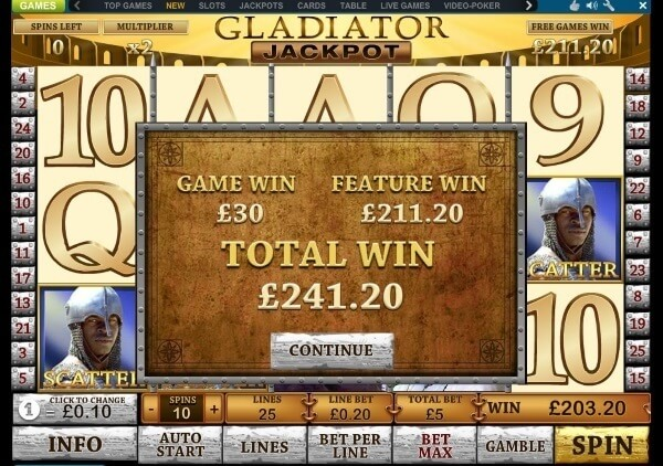 Gladiator slot game bonus round_big_win