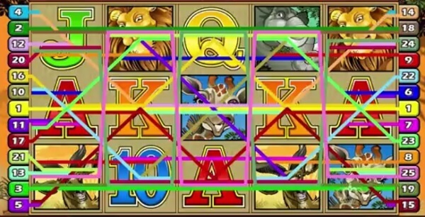 symbols and paylines of Mega Moolah Slot