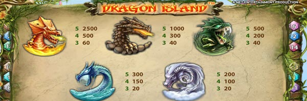 symbols of dragon island slot game