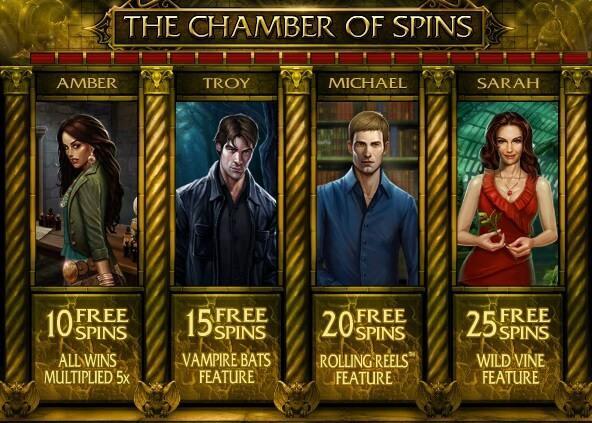 Chamber of Spins bonus round of immortal romance slot game