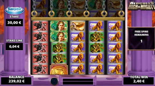 free spins ofHercules High & Mighty slot game