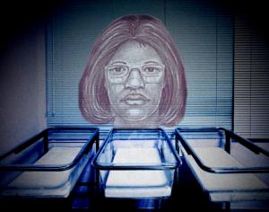 Gloria William's police sketch above empty cribs