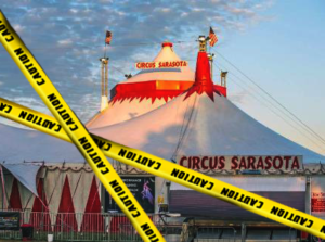 caution tape in front of Circus Sarasota tent
