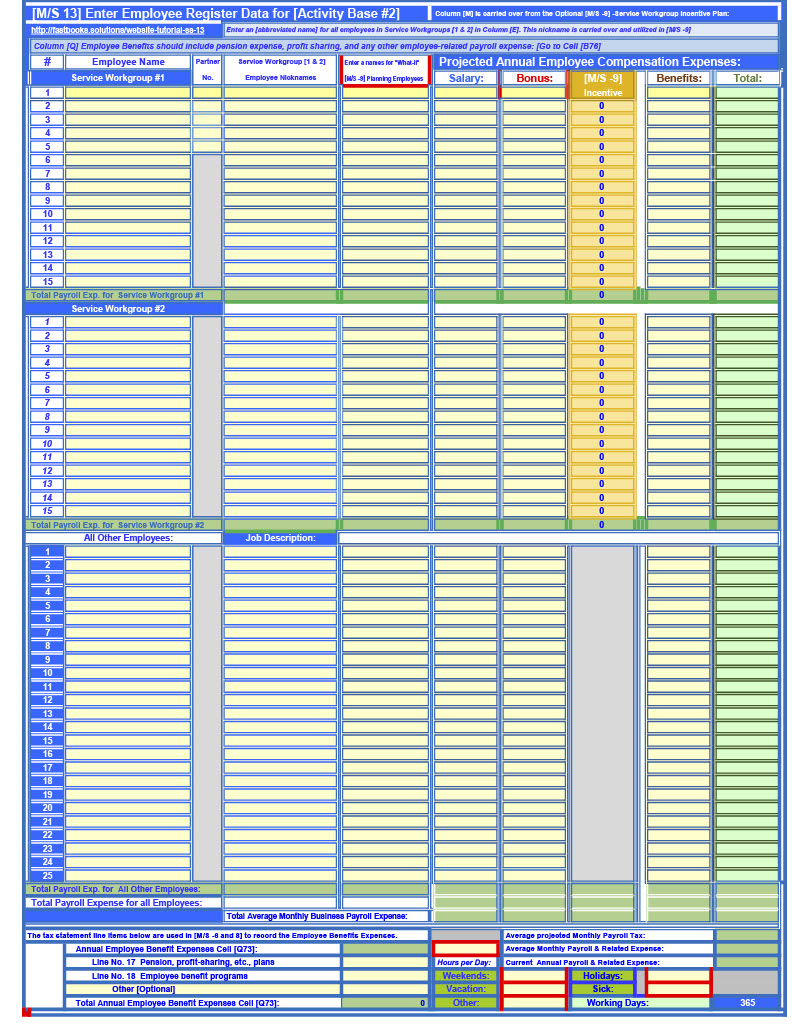 Model Segment 13 of 18 -FastBooks Solutions Microsoft Excel Service Business Accounting Model