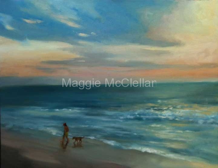 Beach Stroll at Sunset - Private Collection