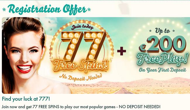 77 Free Spins At 777 Com Casino Bonuscode Casino