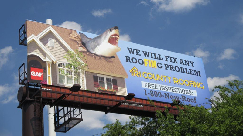 funny roofing advertisement of shark