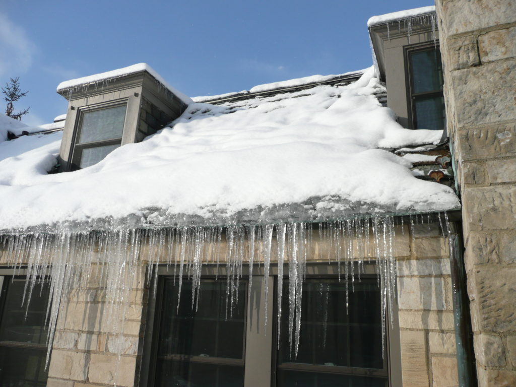 Ice dams forming on roof