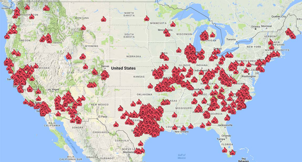Fire Recovery USA customer map for large screens