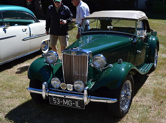 """Allen Hixon, 1953 MG-TD MK II, My MG was built 11/26/1952 and """"dispatched to the USA in early December, arriving in 1953. The first 30 years of life were spent with the Fred Irvin family living in San Carlos, CA. just outside San Francisco. In 1982 the car was restored by O'Connor Classic Autos (Mike O'Connor restorations) in Santa Clara, CA. Some five years ago, I purchased the car from the John Kasman family in Chicago, the second owners. The car is today as it was manufactured. And, everything works. It's been thoroughly researched and listed in the """"T Register"""", Abington, Oxfordshire, UK. It carries the register number of 12,191."""