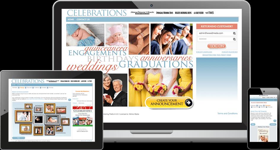 Self Serve Newspaper Celebrations Software