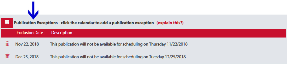 Adportal Deadline Exception Screenshot