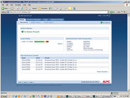 APC Switched Rack PDU Web Interface Screen Shot
