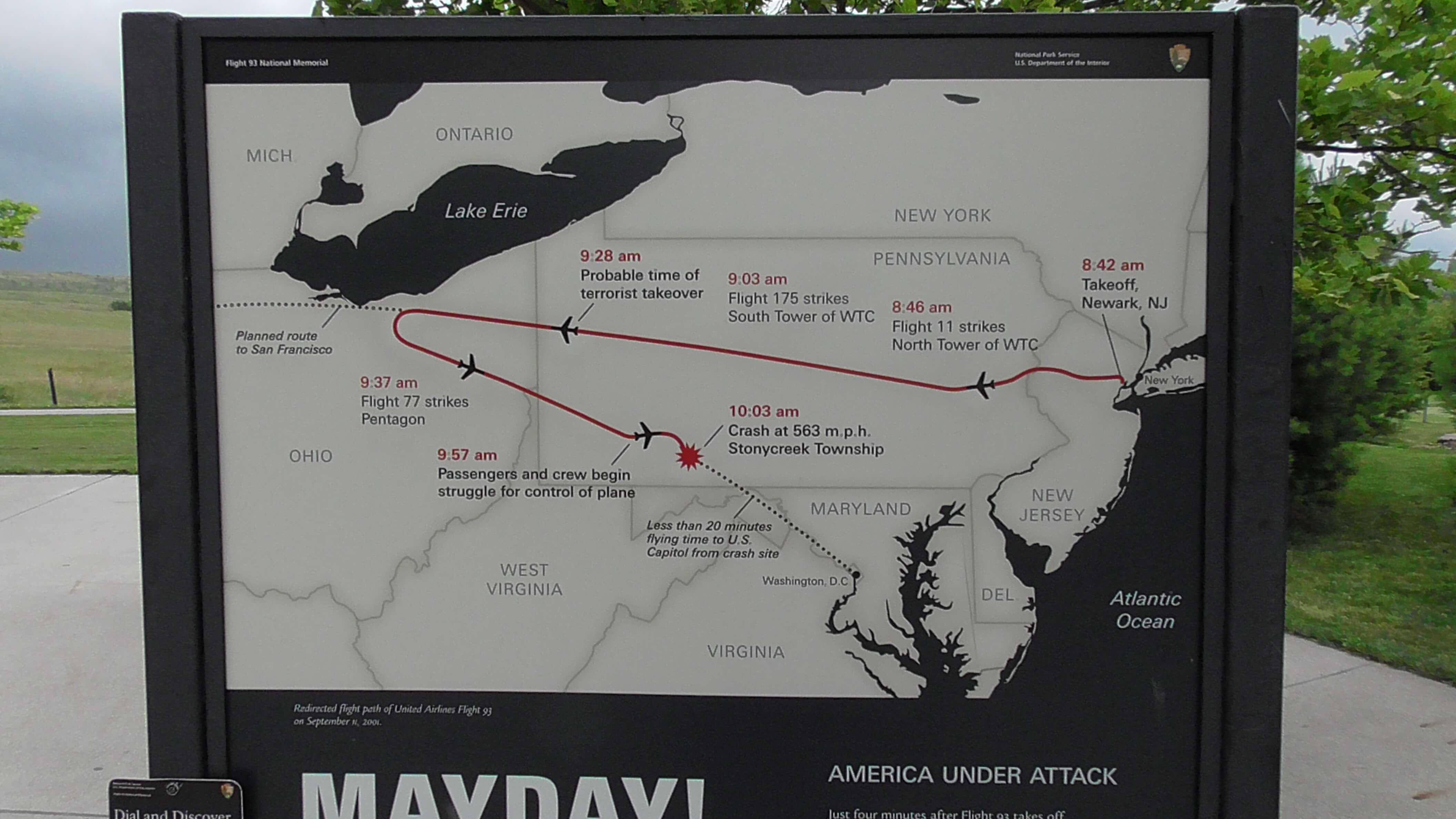 Flight Path of Flight 93