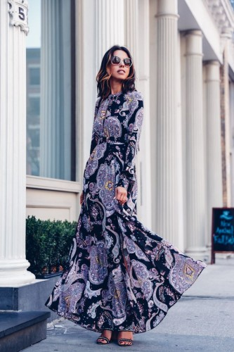 maxi patterned dress
