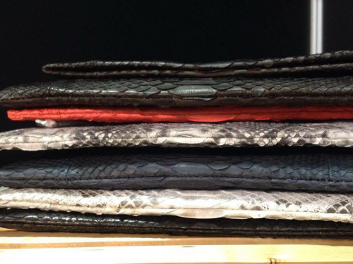 snake leather clutches