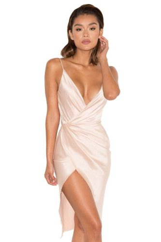 coco nude drape back dress