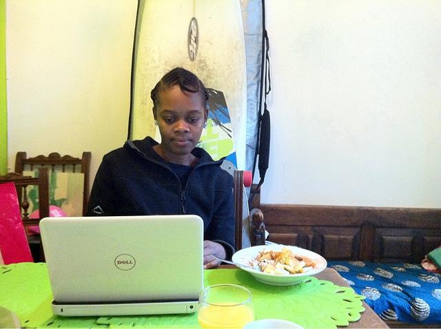 black woman laptop
