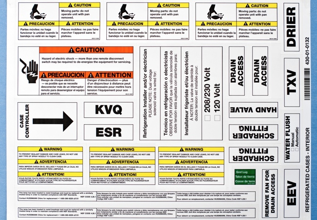 Kit of labels on sheet
