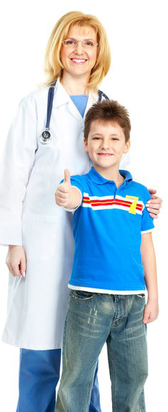 Nurse with student thumbs up