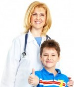 nurse with boy thumbs up