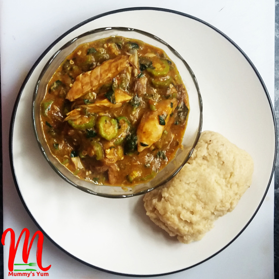 Okro soup cooked with ogbono for added viscousity