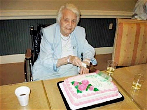 My Mother, Elizabeth Hoedemaker Sheppard, Cutting The Cake At Her 98th Birthday Party