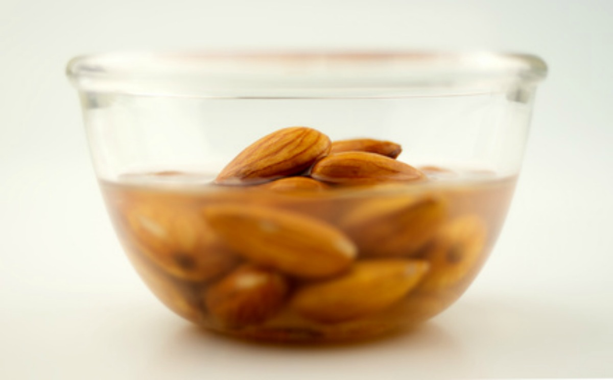 Almonds being activated in water