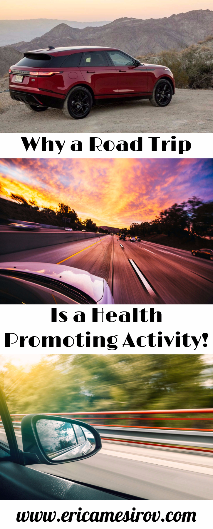 A road trip is a healthy promoting activity. With special car safety tips from cars.com (vacation/ leisure time/ downtime/ rest/ relaxation/ car trip/ stress relief/ drive/ car seat/ car safety)